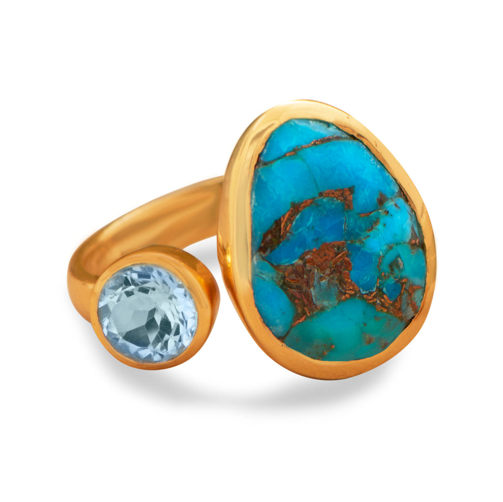 18k Gold Plated Blue Topaz & Turquoise Ring