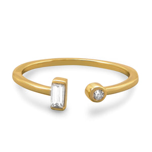 18K Gold Plated Open Design Cz Ring