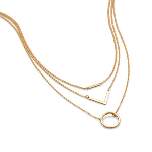 18k Gold Geometric Layered Necklace