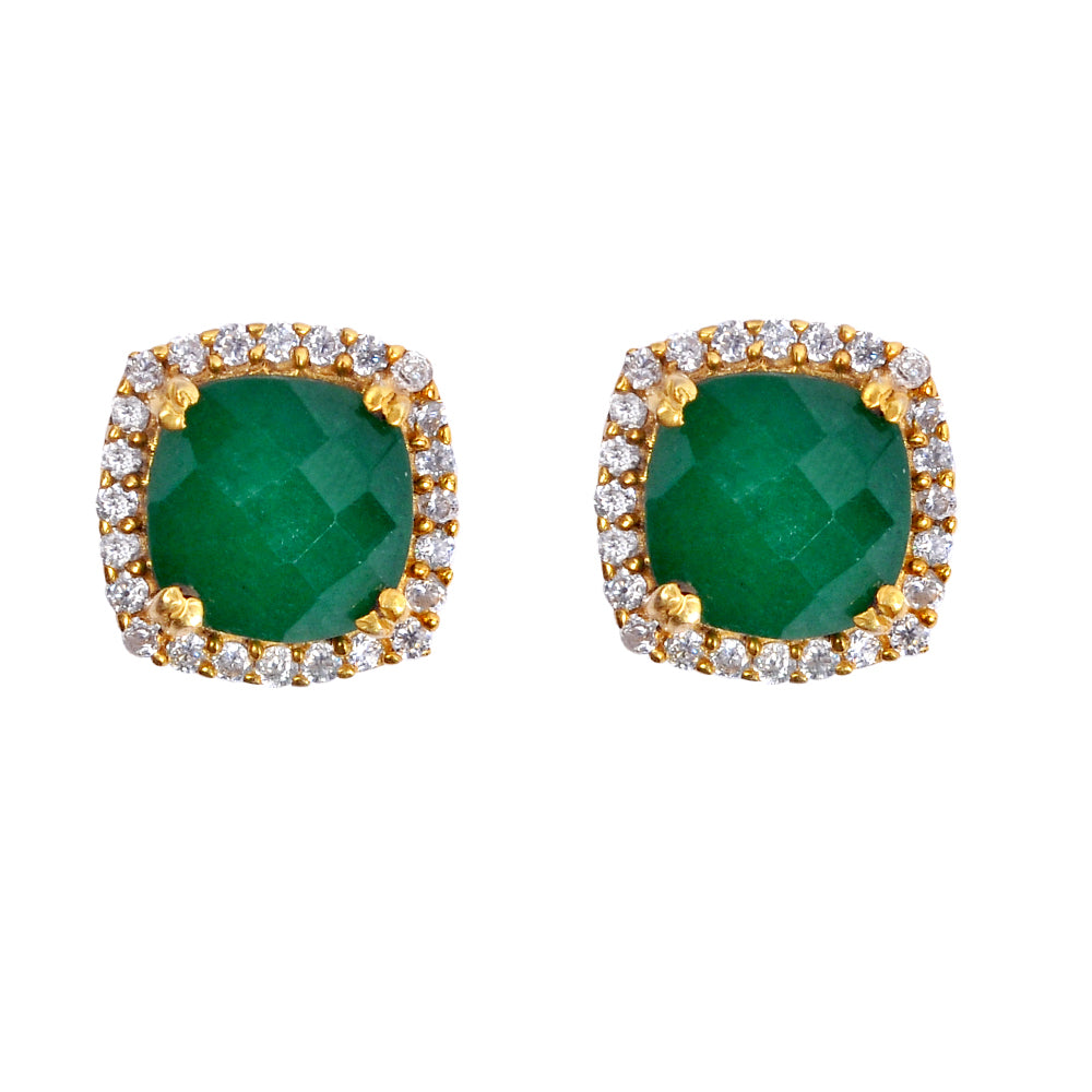 18k Gold Plated Emerald Cushion Stud Earrings