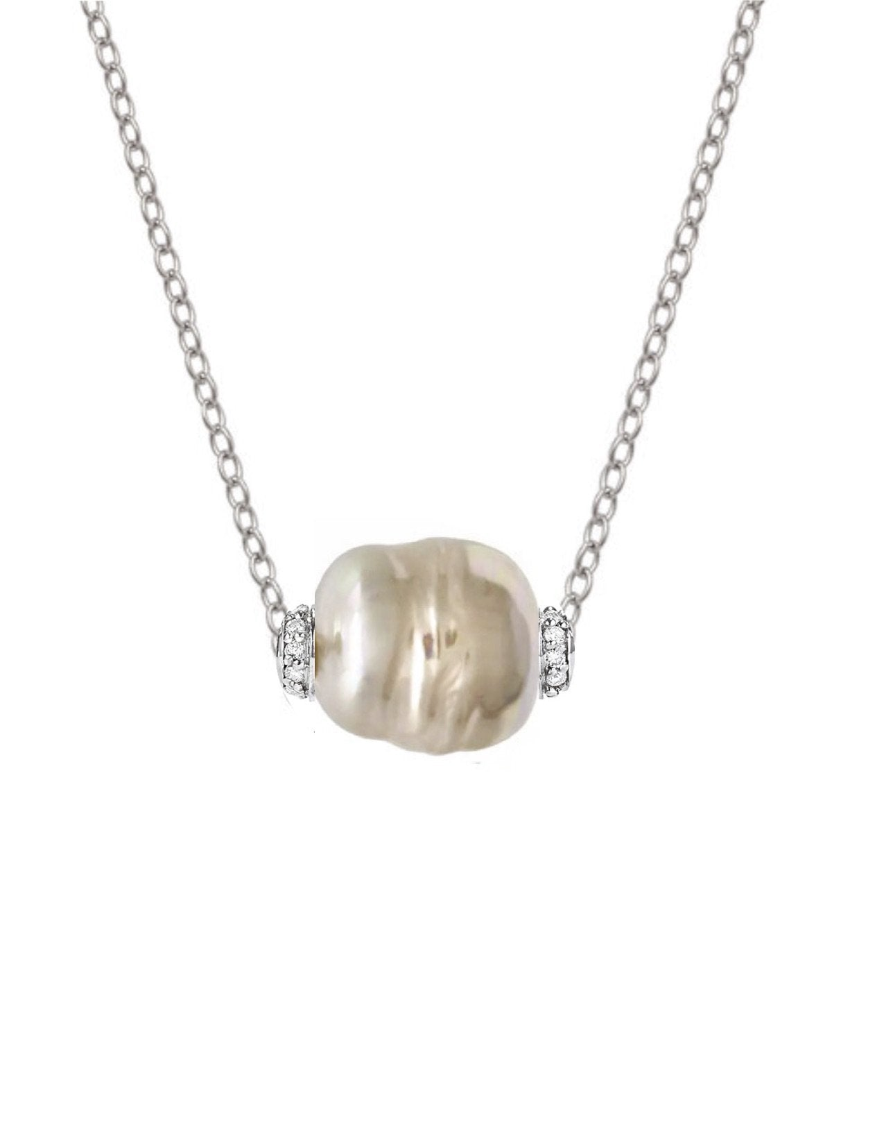 Sterling Silver Baroque Pearl & Cz Necklace