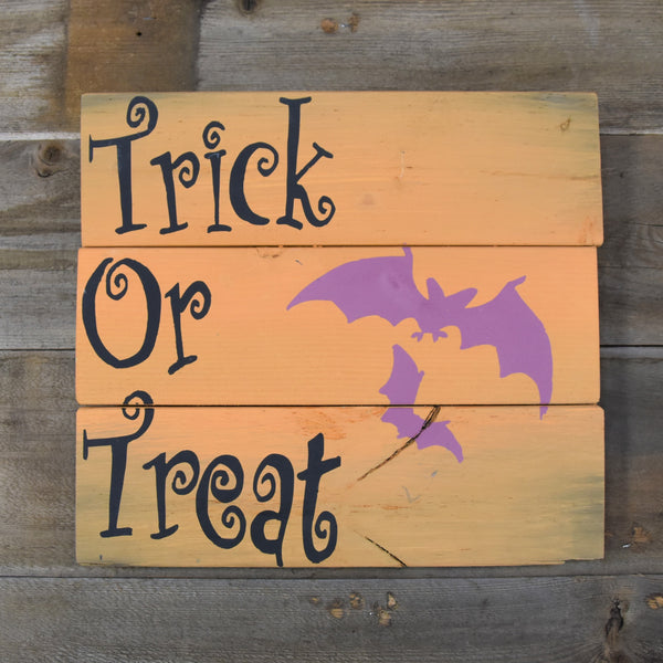Trick Or Treat Wood Sign
