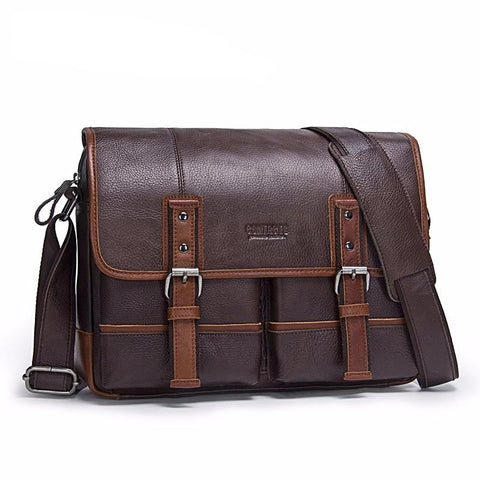 Contacts Brand Double Belt Closure Leather Bag Leather Bag Atlas Outfitters S & G Bags and Apparel [product_description] - Atlas Outfitters