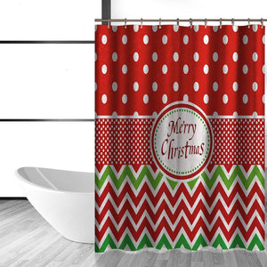 Christmas And Holiday Fabric Waterproof Shower Curtain With 12 Hooks