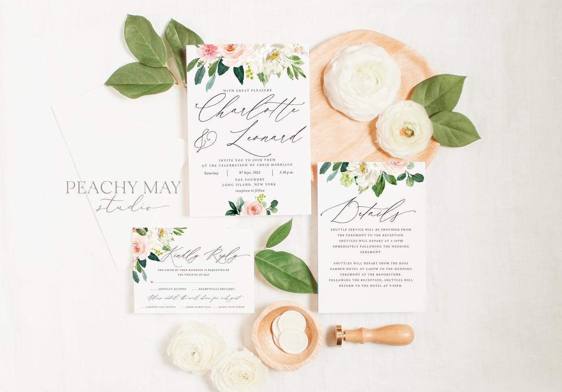 Floral Peony Wedding Invitation Template