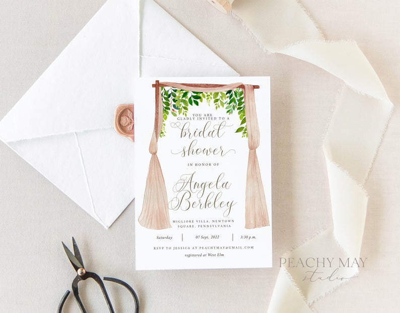 Greenery Bridal Shower Invitation Template 005