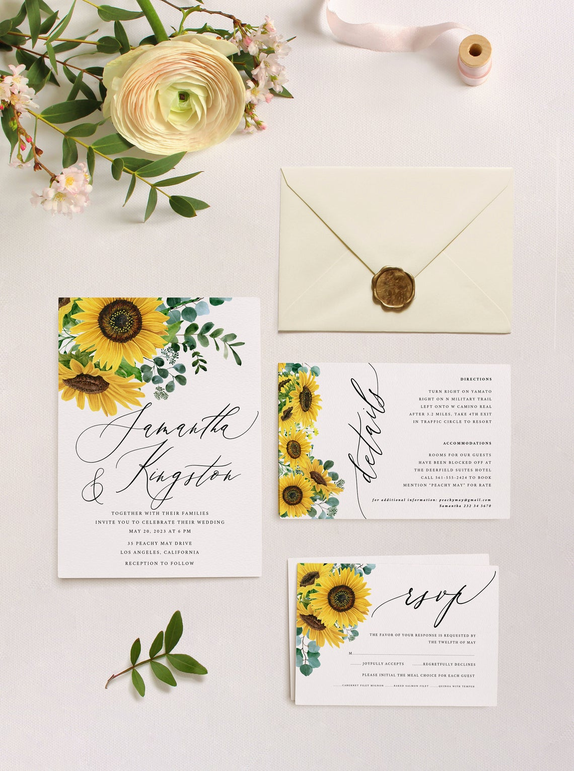 Sunflower Eucalyptus Wedding Invitation Template