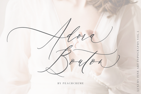 Adora Bouton is a crème de la crème modern calligraphy font with contemporary, sophisticated accents. It is perfect for branding, wedding invites and cards, and maybe for red wine label.