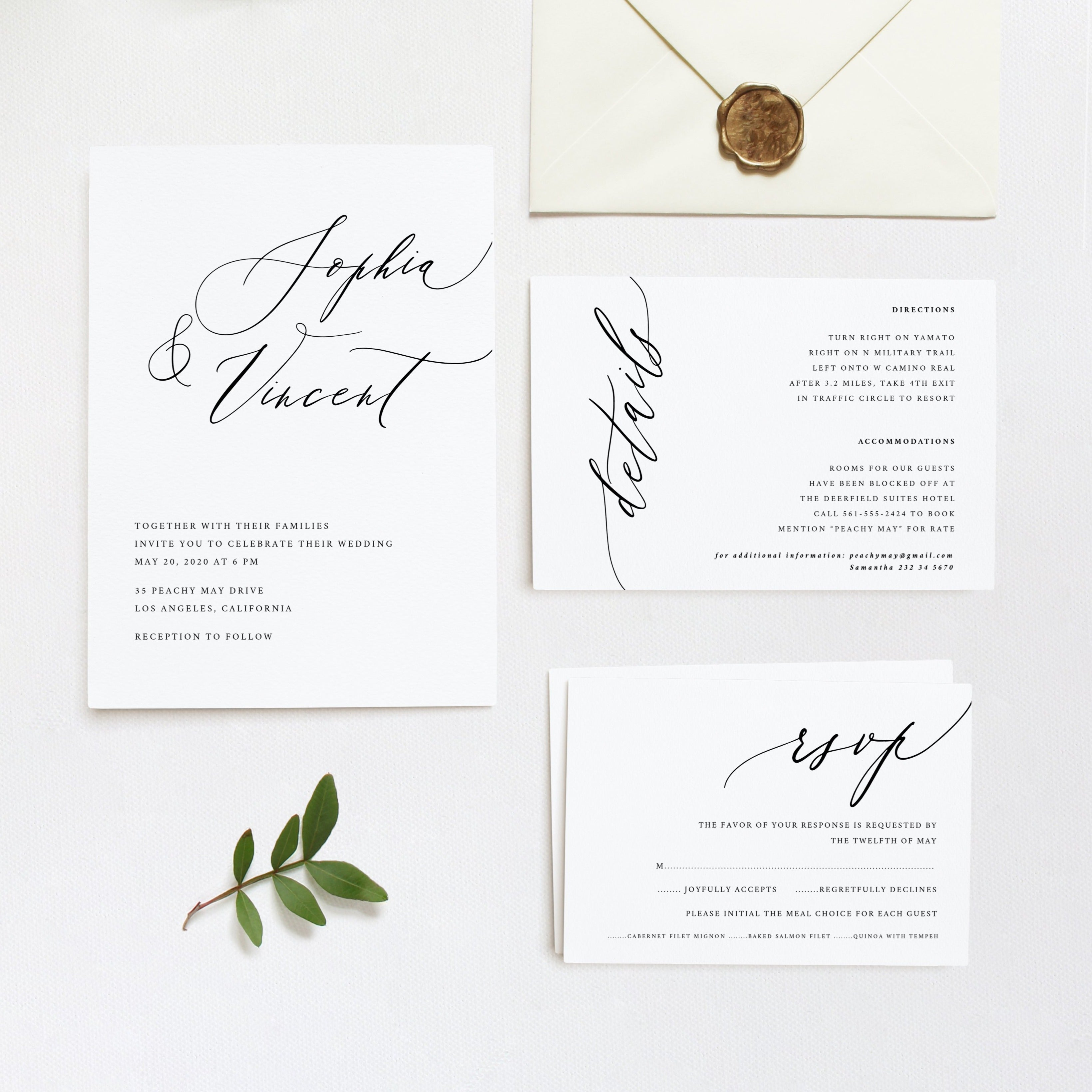 Calligraphy Minimalist Wedding Invitation Template