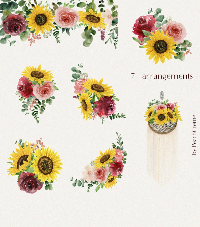 Burgundy Sunflower // Watercolor Set