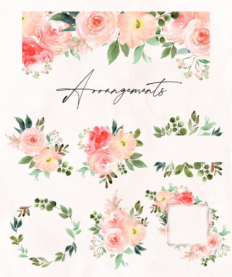 Blush Flora // Watercolor Set