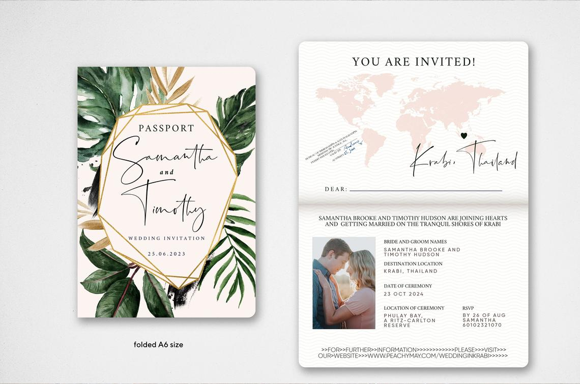 Tropical Passport Wedding Invitation Template Suite
