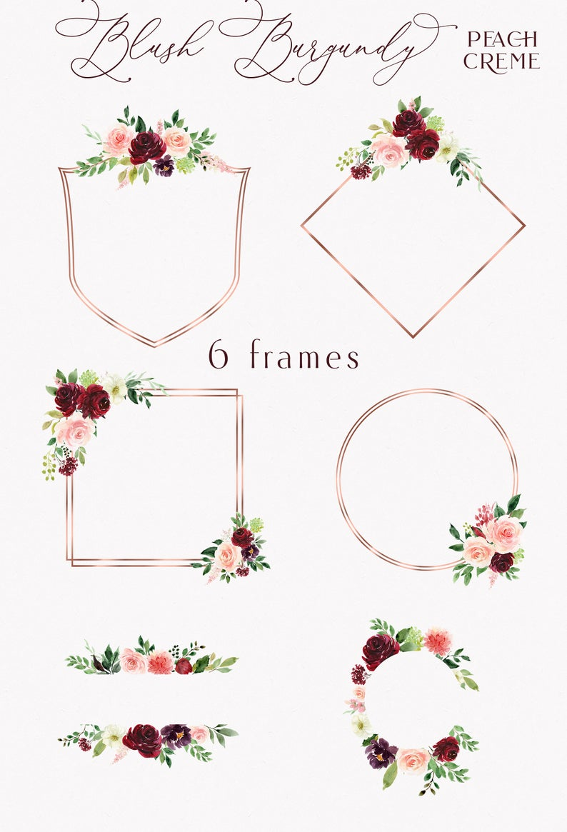 Blush Burgundy // Watercolor Set