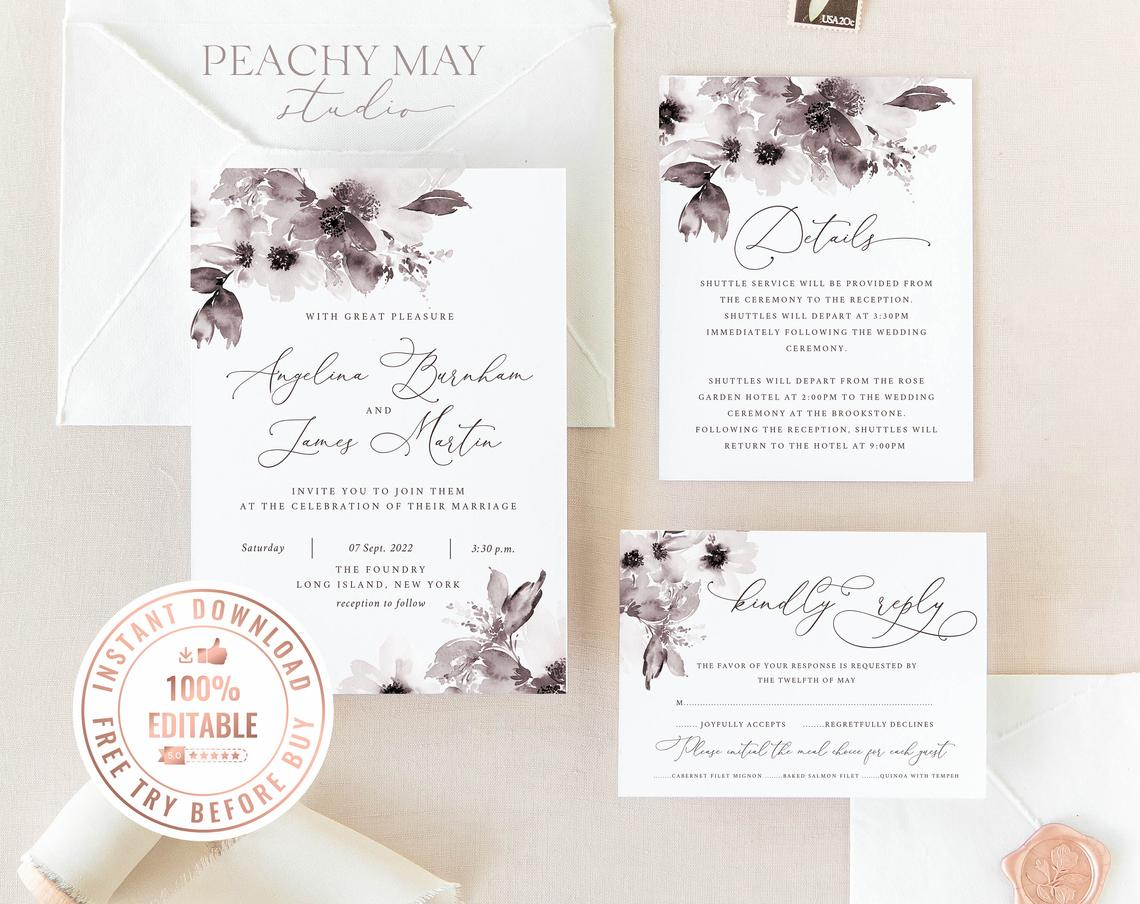Mauve Peony Wedding Invitation Template 003