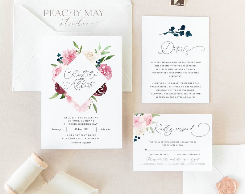 Blush Berry Floral Wedding Invitation Template
