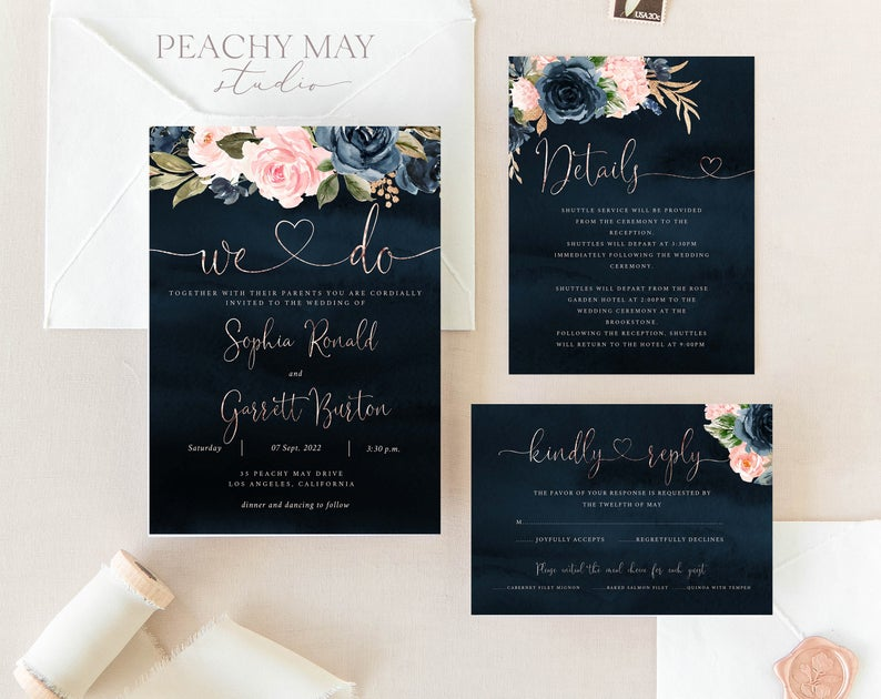 Faux Rose Gold Wedding Invitation Template A019