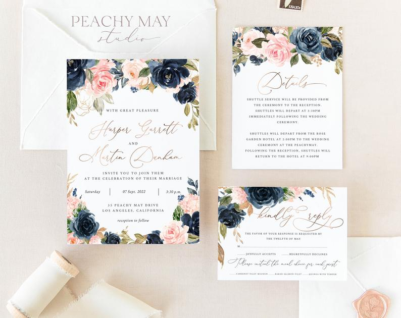 Faux Rose Gold Wedding Invitation Template