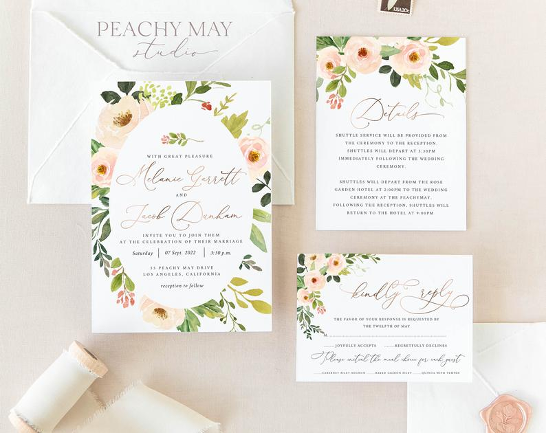 Faux Rose Gold Wedding Invitation Template 024