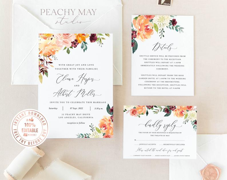 Peony Floral Wedding Invitation Template 028