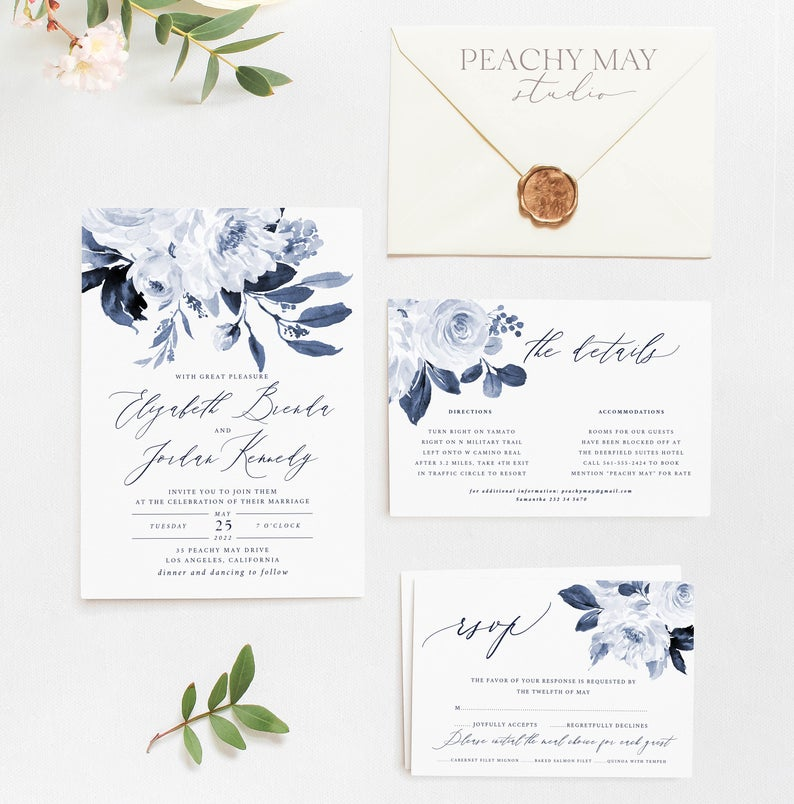 Navy Peony Wedding Invitation Template 032