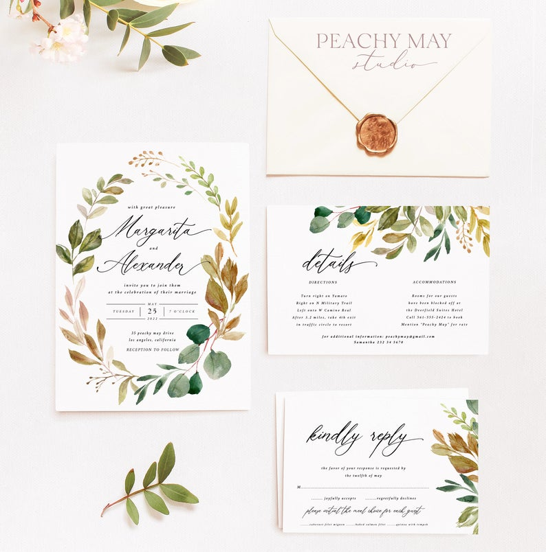 Greenery Wedding Invitation Template A036