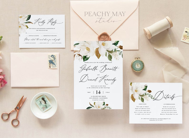 Magnolia Wedding Invitation Template