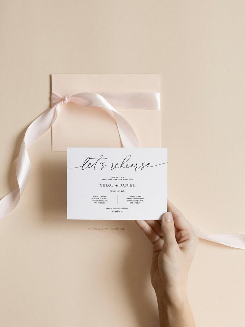 Minimal Rehearsal Dinner Invitation Template 045