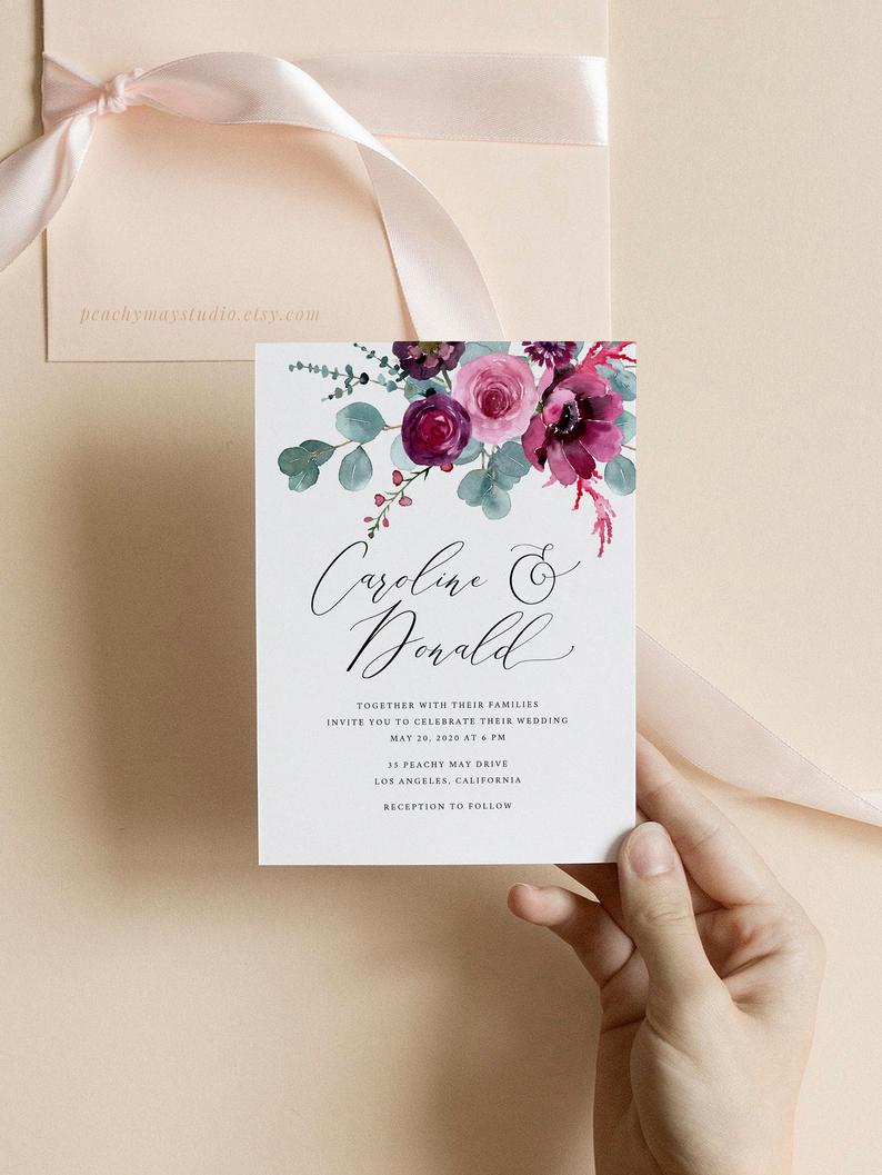 Floral Wedding Invitation Template 051
