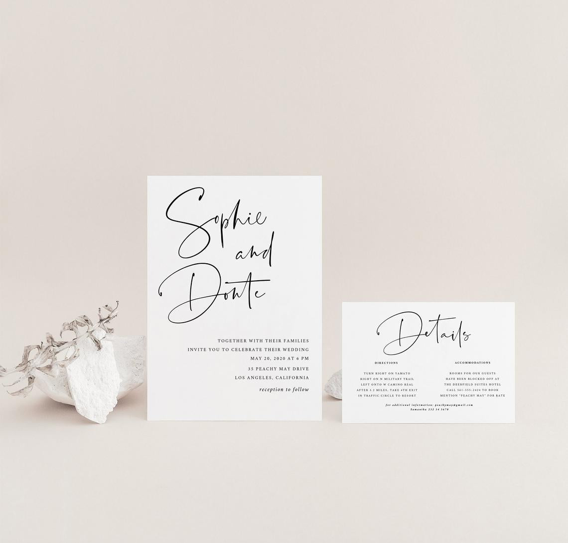 Minimalist Wedding Invitation Template 055