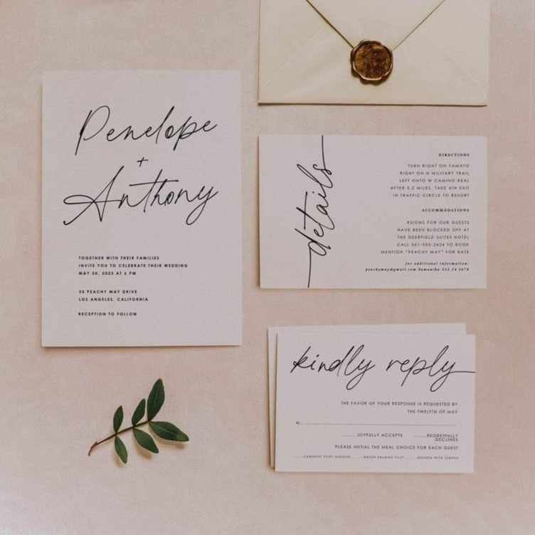 Calligraphy Minimalist Wedding Invitation Template A 059