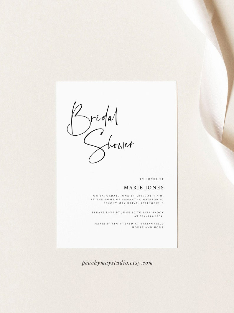 Minimalist Bridal Shower Modern Invitation Template B055