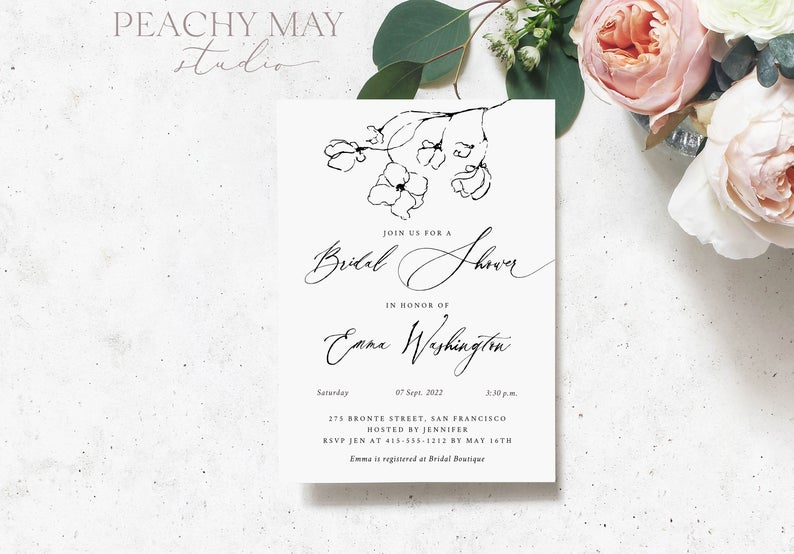 Abstract Bridal Shower Invitation Template 006