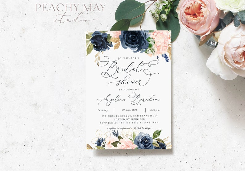 Navy Blue Bridal Shower Invitation Template 014