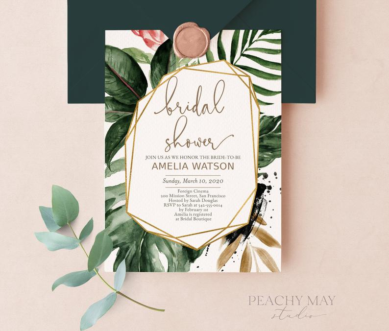 Tropical Bridal Shower Instant Download Template 016