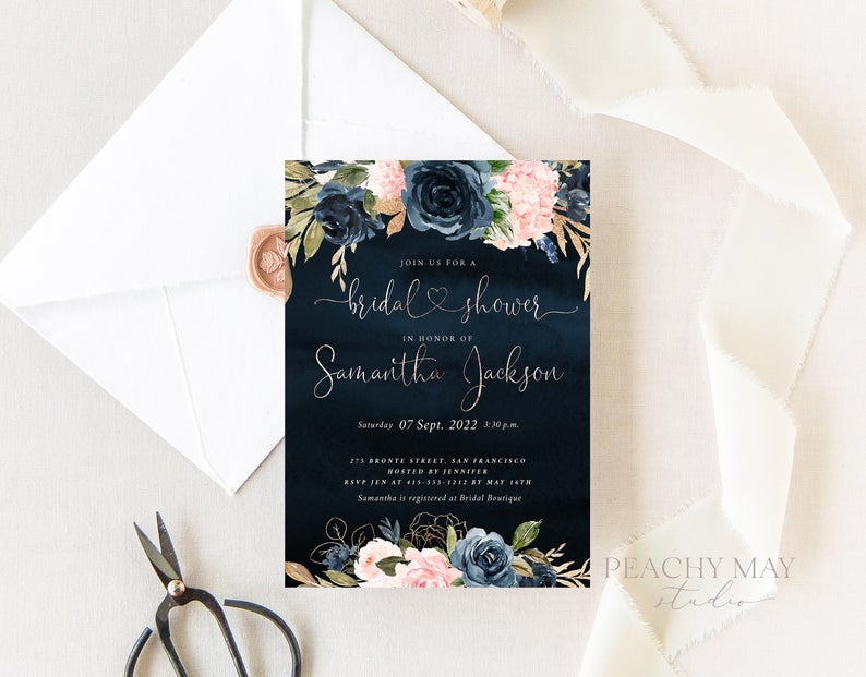 Faux Rose Gold Bridal Shower Template 019