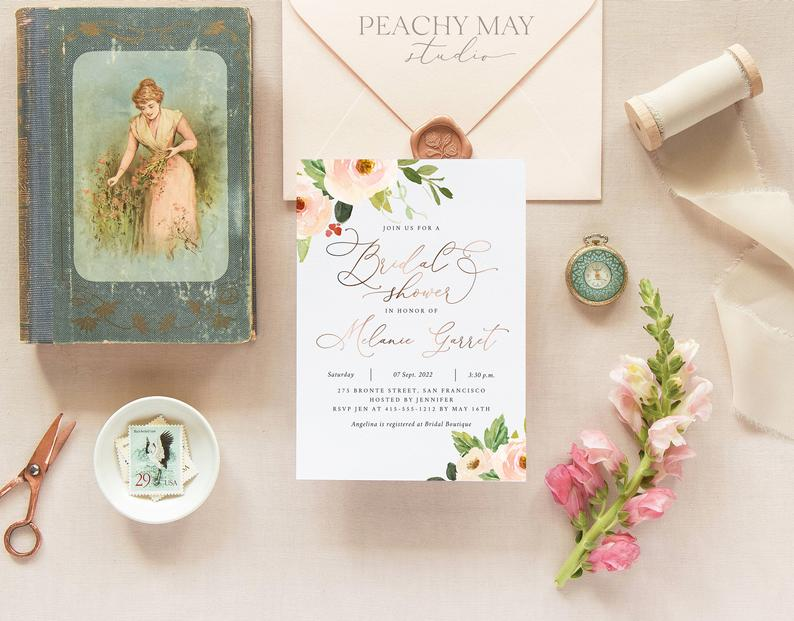 Faux Rose Gold Bridal Shower Instant Download Template 024