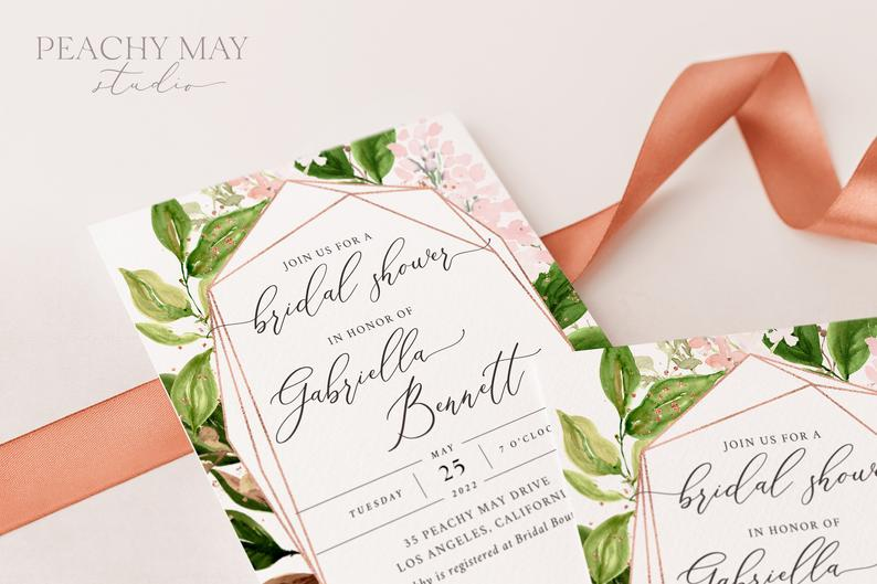 Greenery Bridal Shower Invitation Template 027