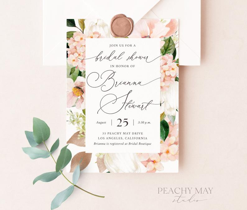 Peony Bridal Shower Invitation Template 029