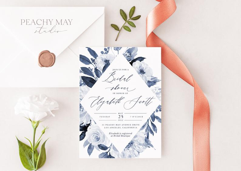 Navy Bridal Shower Invitation Template 032
