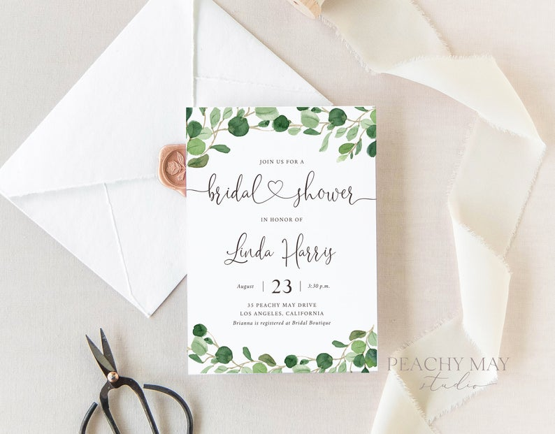 Eucalyptus Bridal Shower Instant Download Template 033
