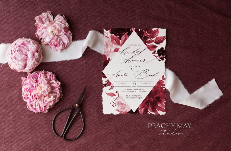 Burgundy Bridal Shower Invitation Template 034