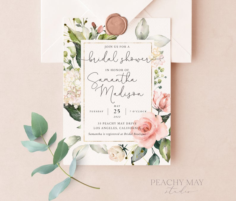 Boho Peony Bridal Shower Invitation Template 035