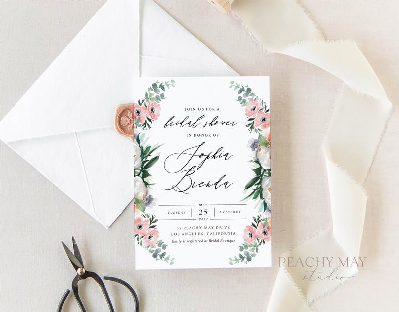 Peony Bridal Shower Invitation Template 039