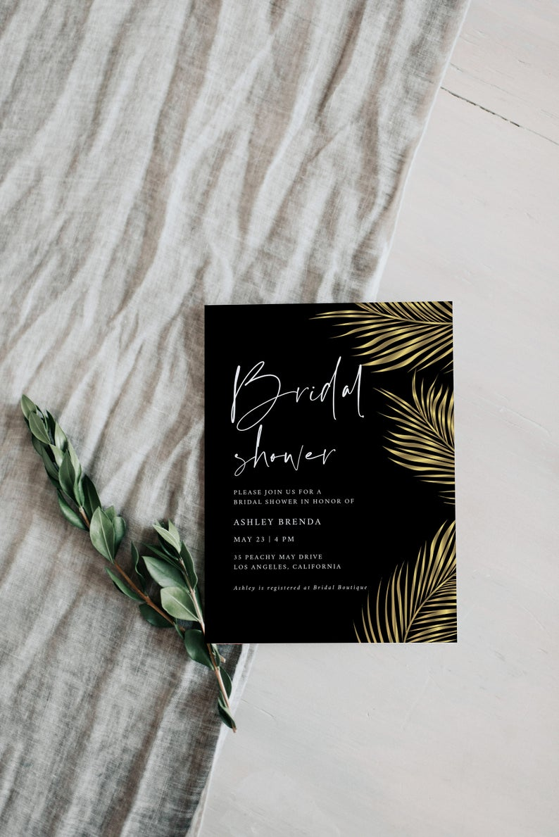 Gold Tropical Palm Leaf Bridal Shower Invitation  Template 2