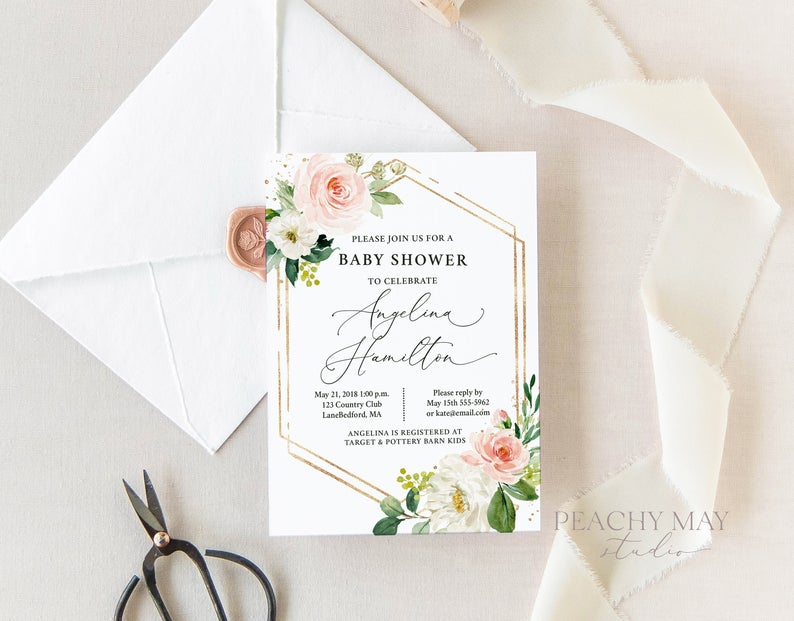 Floral baby Shower Invite Template 9