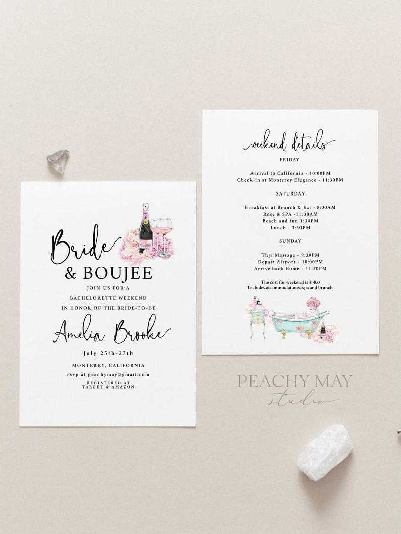 Editable Bride and Boujee Bachelorette Party Invitation Template 12
