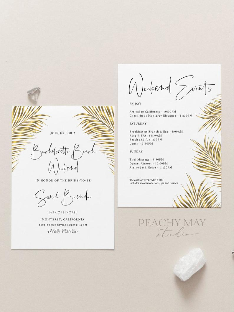 Golden Tropical Bachelorette Party Template 8