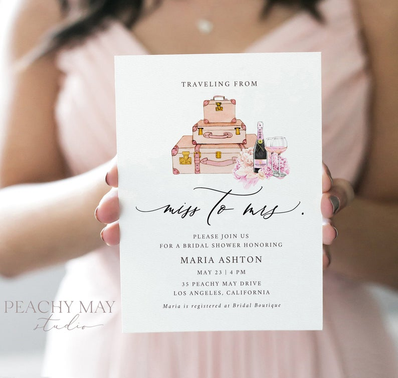 Traveling From Miss to Mrs Bridal Shower Invitation Template 1