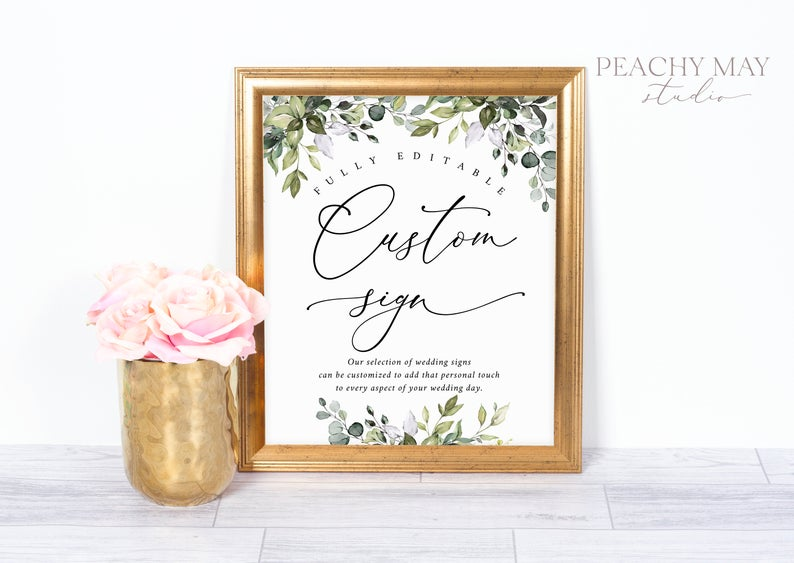 Eucalyptus Custom Wedding SignTemplate 038