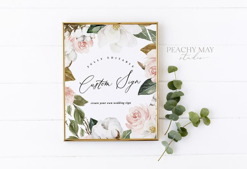 Magnolia Custom Wedding Sign 0389